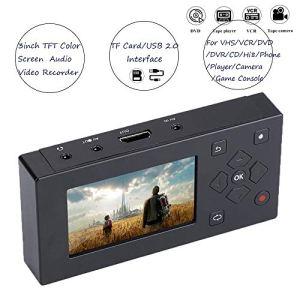Topiky Enregistreur AV, Portable 3″Écran TFT Enregistreur AV Convertisseur Audio et vidéo Convertisseur de Capture vidéo USB 2.0 Prise en Charge de la Carte SD