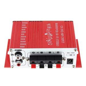 TRUUA Radio Stéréo Audio AMP 12V Mini Salut-FI Amplificateur Auto Moto Bateau (Bule, Rouge)