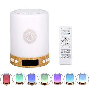 Walmeck- Haut-Parleur Portable sans Fil BT Quran avec télécommande Lecteur MP3 Radio FM 7 Couleurs Lampe de Table de Chevet à LED