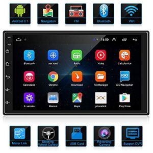 ANKEWAY 2020 Nouveau 7 Pouces 2 DIN Android 9.1 Autoradio Navigation GPS 1080P HD Écran Tactile WiFi/Bluetooth Autoradio Mains Libres 1G/16G Multimédia Voiture Stéréo+Internet WiFi+Caméra de recul