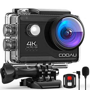 COOAU Caméra Sport Webcam PC Mode 4K 20MP avec Wi-FI Microphone Externe Télécommande stabilisateur EIS, Caméra d'action Étanche 40M avec 2X1200mAh Piles et 20 Accessoires