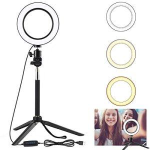 DERCLIVE Mini LED Caméra Anneau Lumière Dimmable Téléphone Vidéo Lampe avec Trépied Selfie Bâton Remplir Lumière pour Live Maquillage Éclairage Photo Studio Noir