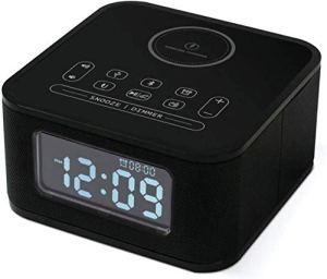 HAOHAO Réveil Recharge sans Fil Mobile Horloge Radio numérique, Commandes tactiles Bluetooth réveil Radio Haut-Parleur, Horloge de Table de Chevet Radio FM Accueil Haut-Parleur LED Snooze, Noir.
