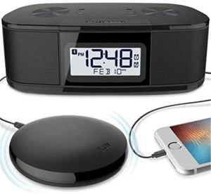 HAOHAO sans Fil Bluetooth Haut-Parleur Chevet réveil, Bluetooth contrôle d'horloge par Vibration Radio FM réglage de la luminosité AM Snooze Radio-réveil, Noir,Noir