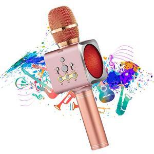 Microphone Sans Fil Karaoké Portable Bluetooth avec 2 Haut-Parleur Bluetooth Intégré 4 en 1 Pour Android & iOS Karaoké Pour Chanter à La Maison KTV Anniversaire de Fête Enregistrement(Rose)