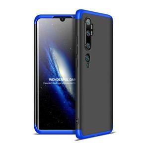 MISSDU Compatible avec Coque Xiaomi Note 10/ Note 10 Pro/ CC9 Pro + Verre trempé écran Protecteur, 360 Degrés Complète Protecteur PC Plastique Housse Etui Cover, Bleu Noir