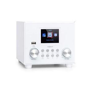 OneConcept Streamo Cube Sound Line – Radio Internet, 14000 radios, Bluetooth, Ecran 2,8″ HCC Display pour Afficher Les informations, Port USB, Entrée AUX, Enceinte de 3W, Subwoofer 5W RMS, Blanc