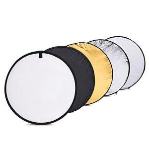 Réflecteur de Lumière, Andoer 5 en 1 Réflecteur 24 pouces/60cm Portable Réflecteur Photo Multi-Disque Pliable avec 5 Couleurs Translucide, Argent, Or, Blanc et Noir pour Photographie Video Studio