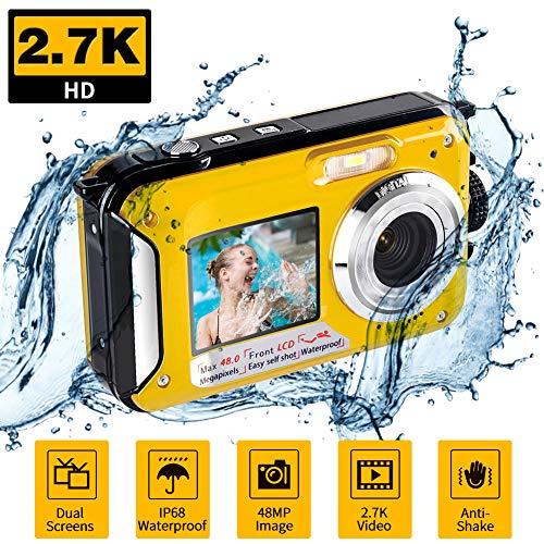 Appareil Photo Etanche Numérique pour la Plongée en Apnée Camera Etanche 2.7K 48MP avec Double écran pour Selfie Camera sous Marine pour la Natation et Le Camping