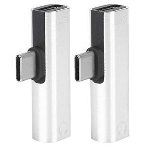 ASHATA 2pcs Adaptateur pour Casque 2pcs Adaptateur de câble USB Type-C mâle à Femelle pour téléphone Portable de Type C(Silver)