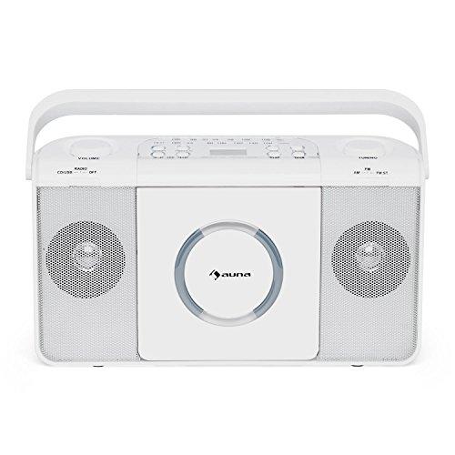 AUNA Boomtown USB White Line – Lecteur CD & Radio, Sortie Casque Jack 3,5mm, Lecture des MP3, Fonction Programme, Sélecteur FM Mono/stéréo, Design nostalgigque, Blanc