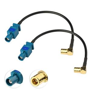 Eightwood Câble Adaptateur Radio Dab Fakra au câble Adaptateur SMB à Fakra Z mâle au câble Adaptateur SMB Femelle 15cm RG174 2pcs pour Récepteur stéréo Radio Dab Tuner