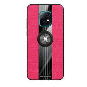 FHXD Compatible avec Les Coque Xiaomi Redmi 10X 5G/10X Pro 5G Ultra Mince Motif de Texture de Tissu Housse+1*Protecteur D'écran 360 ° Support D'Anneau Rotatif Anti-Choc Coquille-Rouge