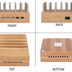 ghj nghj Station de charge en bambou avec 5 ports USB rapide Station de chargement de téléphone avec multiport pour plusieurs appareils Tabletop Phone Watch (avec lot de 5 câbles)