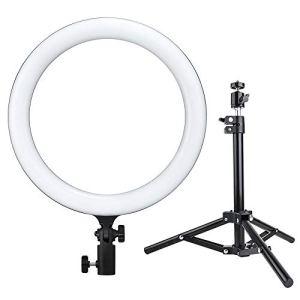 Godox LED Ring Fill Light, Lampe vidéo Bicolore dimmable 3000k-6000k, CRI 90, TLCI 90, pour Vlogs, vidéos Youtube, Streaming en Direct, Prise,Maquillage, Photographie de Portrait (LR120, Noir)