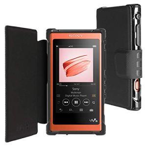 inorlo PU Etui Flip Housse Cuir pour Sony Walkman NW-A55L MP3 Lecteur Case Cover avec Fermeture Magneticque + Film de Protection (Noir)