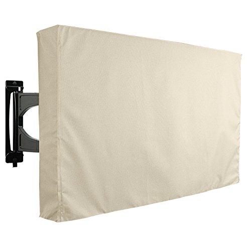 KHOMO Gear – Housse de protection pour TV d'extérieur, écrans et télévisions de terrasse et jardin – Imperméable et résistant – Beige- 60″ a 65″ – Compatible avec un pied ou une fixation murale