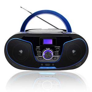 LONPOO Radio CD Portable Lecteur CD Enfants Bluetooth Boombox Stéréo Haut-parleurs connectivité Entrée USB/ AUX/ Sortie écouteur (Noir 02)