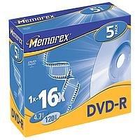 Memorex Professional Lot de 5DVD-R 4.7Go 16x Jewel Case DVD rohlinge