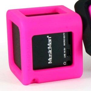 MusicMan 3989 Housse en silicone pour enceinte portable Rose