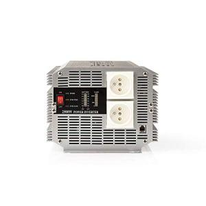 Nedis PIMS250012E Convertisseur d'alimentation à Onde sinusoïdale modifiée | 12 V c.c. – 230 V c.a. | 2 500 W | 2 Sorties à Broche de Terre | Télécommande