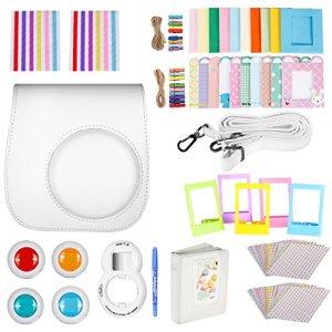 Neewer 10-en-1 Kit d'Accessoires Blanc pour Fujifilm Instax Mini 9 8+ 8 8s: Housse/Album/ Objectif de Selfie / 4x Filtre de Couleur/ 5x Cadre sur Table/ 20x Cadre Suspendu sur Mur