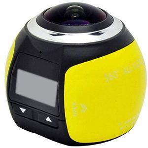 QAS 360 caméra panoramique – enregistreur de Conduite caméra sous-Marine VR – caméra numérique de Mouvement caméra – 360 Sports DV,Jaune,A