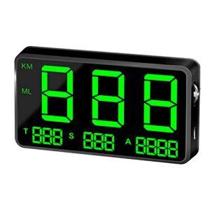 SODIAL Indicateur de Vitesse Hud Affichage Tête Haute Vitesse de Conduite Digital C80 GPS Universel Véhicule Vitesse de Voiture Avertir Satellite M3A1N