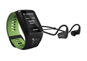 TomTom RUNNER 3 Music + Casque BT – Montre de Sport GPS – Bracelet Large – Noir/Vert