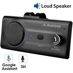 Avantree CK11 Kit Mains Libres Bluetooth Voiture, Haut-Parleur de qualité, Supporte Siri et Google Assistant, Détecteur de Mouvement, Bouton de Volume, sans Fil avec Clip pour Pare-Soleil (Noir)