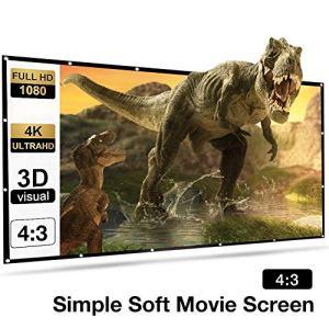 N/T Projection Écran de projection 4 : 3 HD 150 pouces Pliable Projection Portable Surface SSurface pour Home Cinéma Home Cinéma