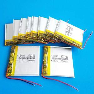 rpbll 10 pièces 3.7 V 300 mAh lipo Lithium polymère Batterie Rechargeable 253736 pour MP3 GPS Bluetooth Casque caméra Montre Intelligente
