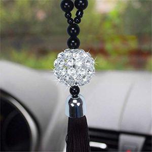 THNQ Pendentif Voiture Rearview Mirror Suspendu Ornement de Bouddha Perles réplique Boule de Cristal Lucky Charm Pendentif Tentures Auto Intérieur (Color : 01)