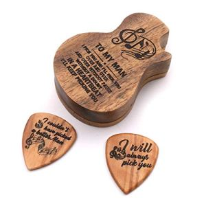 YO-HAPPY Wooden Guitar Pick Box, Guitar Music Gift,Chrismas