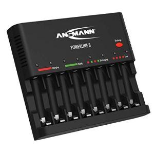 Chargeur de pile ANSMANN pour le charg. et décharg. de 8x AA/AAA NiMH – chargeur à 8 compartiments avec surv. de chaque compartiment, coupure auto., charge d'entretien & chargeur USB – Powerline 8