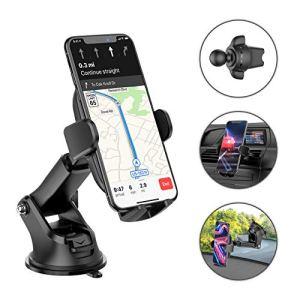 Mpow 3en1 Support Téléphone Voiture, Support de Voiture pour Ventilation de Pare-Brise Tableau de Bord, Support Téléphone Voiture Clip de Verrouillage Rotatif et Ventouse Forte, Compatible Smartphone