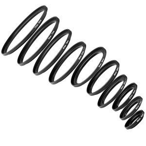 Neewer® Kit Bague d'Adaptation 10 Pièces Anodisé Métal Noir Step-up Comprenant Bagues de Taille 26-30mm, 30-37mm, 37-43mm, 43-52mm, 52-55mm, 55-62mm, 62-67mm, 67-72mm, 72-77mm, 77-82mm