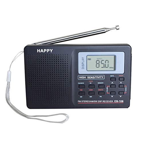 SUPVOX Radio Portable FM Toutes Bandes réception Radio Ondes Courtes radios transistors compactes sans Batterie (Noir) 10k