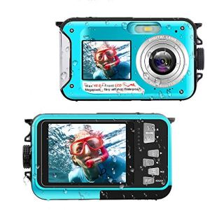 Appareil Photo Etanche Full HD 2.7K 48 MP Appareil Photo étanche Selfie Dual Screens Camescope 16X Zoom Numérique pour la Randonnée ou Les Voyages en Bord de Mer en Famille