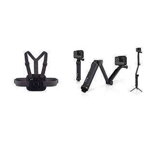 Chesty V2 – Fixation de poitrine pour l'action (Gopro accessoire official) & GoPro 3-WAY Fixation 3-en-1 pour caméra embarquée GoPro