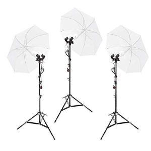 Duolite E27 Kit d'éclairage continu à trois têtes 50 W Ampoules LED pour photographie, vidéo, parapluie translucide alimenté par secteur, tête inclinable