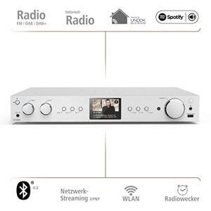 Hama Tuner hybride Hi-Fi «DIT2100MSBT» (WLAN/LAN /DAB/DAB+/FM, Bluetooth, Multiroom, Spotify Connect/Amazon Musique, télécommande, USB/AUX, radio-réveil, application de radio gratuite) Argent