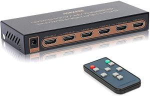 HDMI Switch 4K,REEXBON HDMI Switcher Splitter 5 in 1 Out 4K@60Hz / 3D/Full HD, HDCP 2.2 Dolby télécommande à Distance avec Infrarouge pour Fire Stick TV, Blu-Ray, PS3 / PS4, Xbox 360