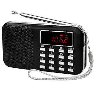 iMinker Mini Digital Radio AM / FM Média Portable Speaker MP3 Music Player Soutien TF / Port USB avec affichage à l'écran LED, lampe de poche d'urgence, 3.5mm Jack (Noir)