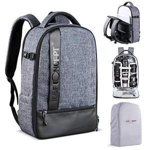 K&F Concept Sac a Dos Appareil Photo Reflex pour Ordinateur 15″ Objectif Trépied Accessoires Flash Canon Nikon Sony Olympus Version DIY