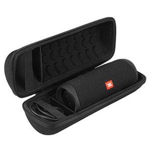 Khanka Dur Cas étui de Voyage Housse Porter pour JBL Flip 5 Enceinte Bluetooth Portable (Tout Noir)