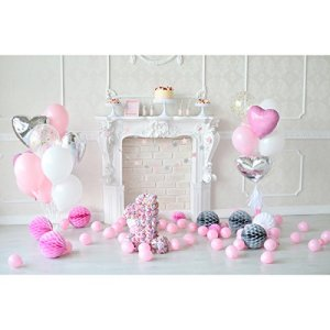 LEDMOMO 1er anniversaire Photo Studio toile de fond 3D photographie fond mur accessoires Party Favors 5 x 3ft (rose)