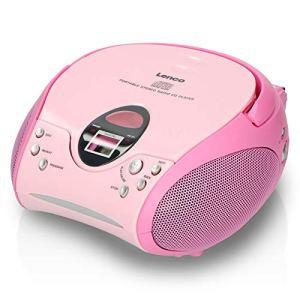 Lenco Radio Lecteur CD SCD-24 pour Enfant Chaîne Stéréo Prise Casque Aux in – Écran LCD – Batterie et Alimentation électrique – Rose