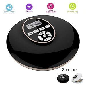 LHR Lecteur De CD Personnel Portable, Lecteur De Musique Bluetooth Conception De Protection Auditive De Qualité Sonore HiFi Adaptée Au Divertissement Audiovisuel,Noir
