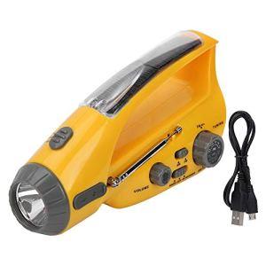 Wacent Portable Radio LED Lampe De Poche Solaire Chargée Manivelle Dynamo Power Bank, Outil Durable D'amélioration De Sport De Plein Air Matériel pour Urgence Extérieure